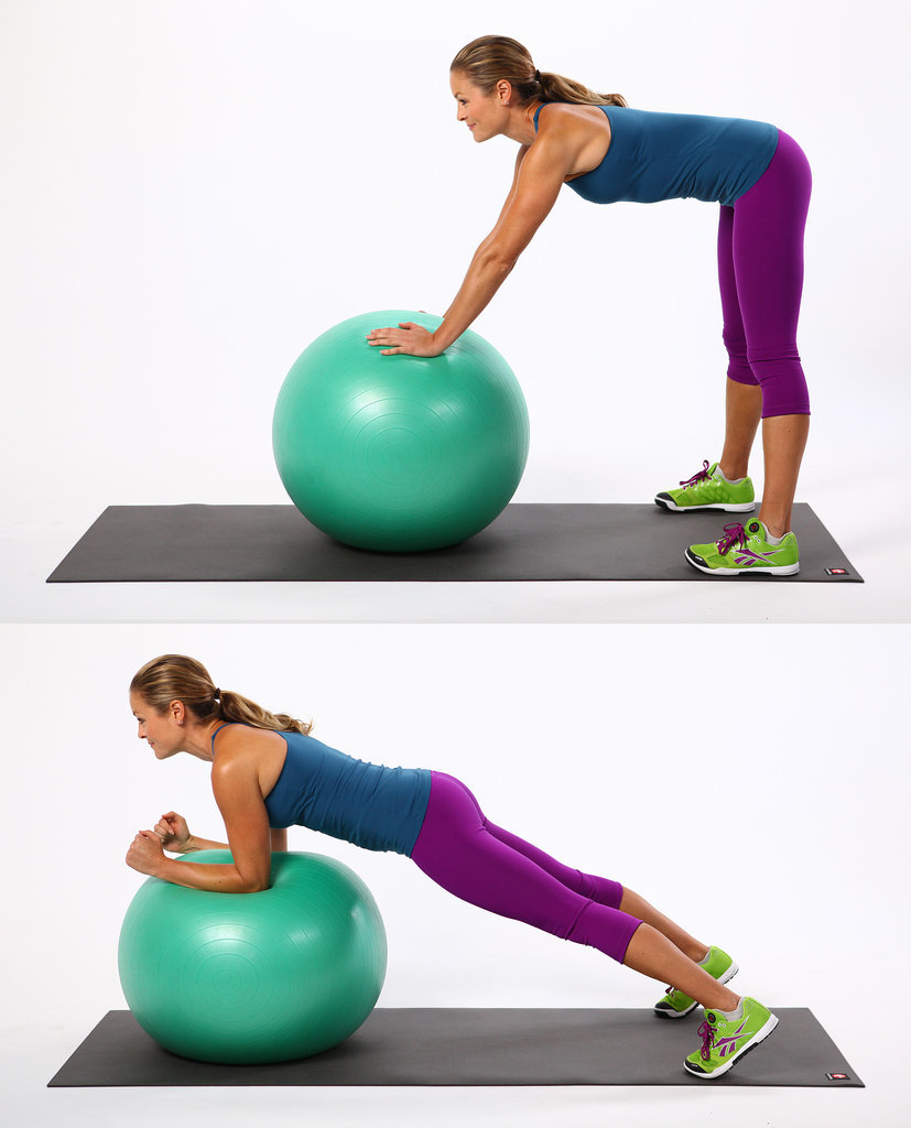 standing-ab-rollout or plank hold on stability ball