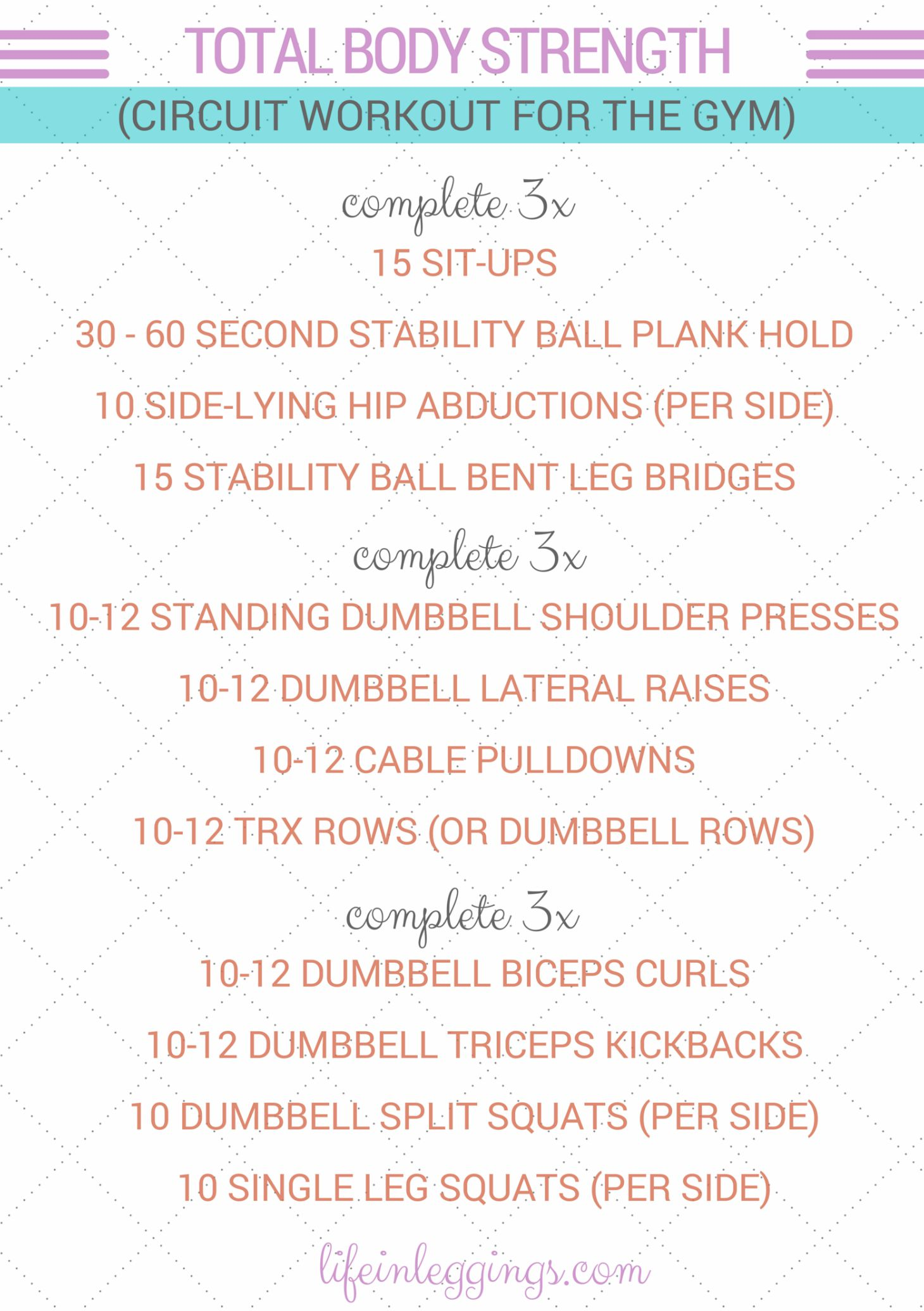 Total Body Strength Circuit Workout (for the gym) - Life In Leggings