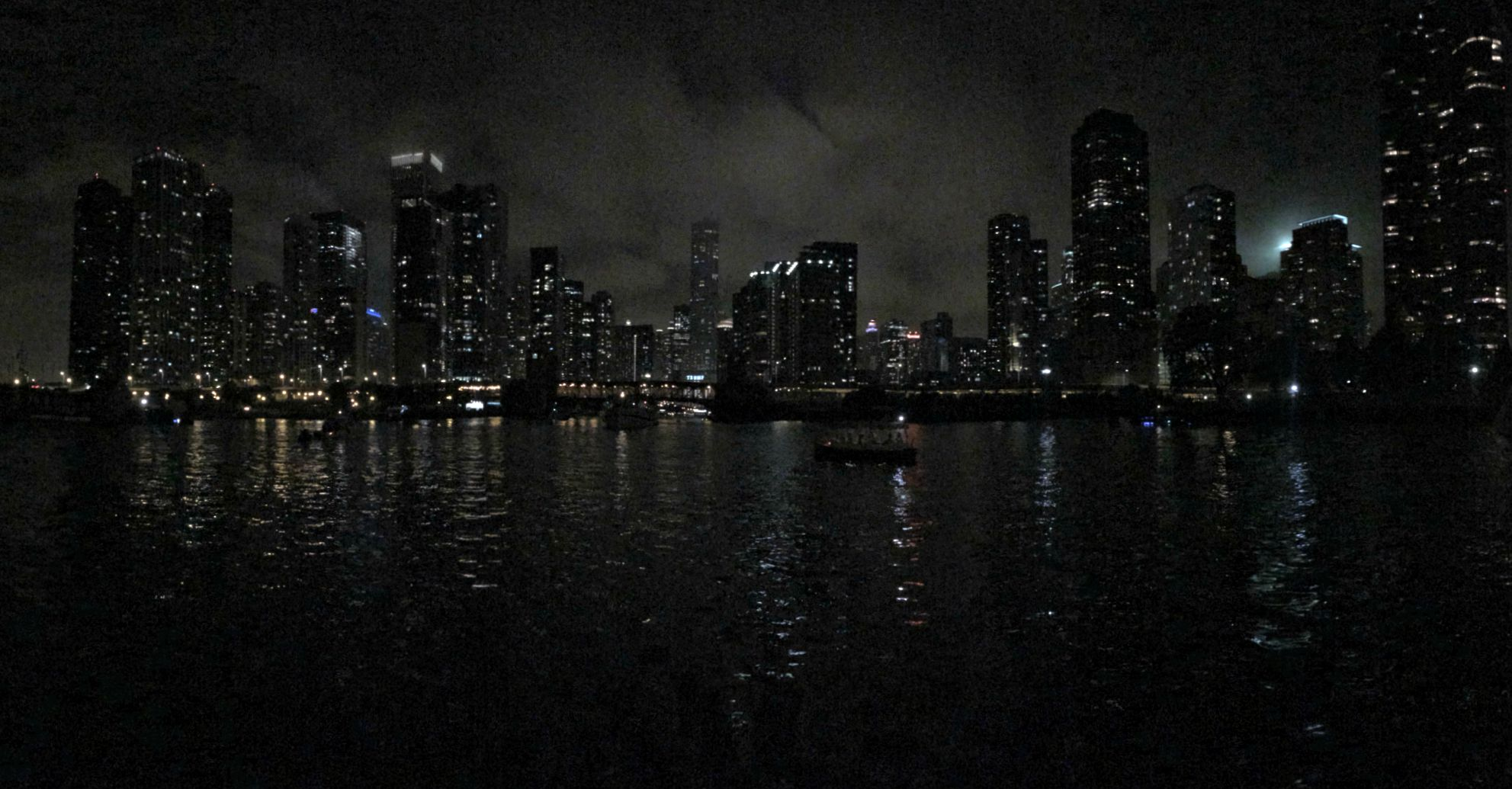 chicago skyline at night from water