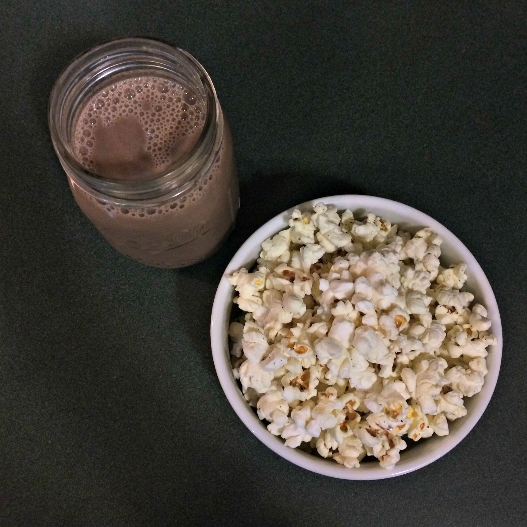chocolate almond milk with skinny pop popcorn