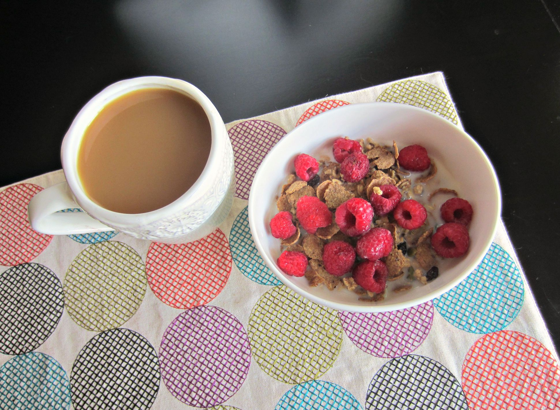 coffee and natures path pumpkin raisin bran cereal