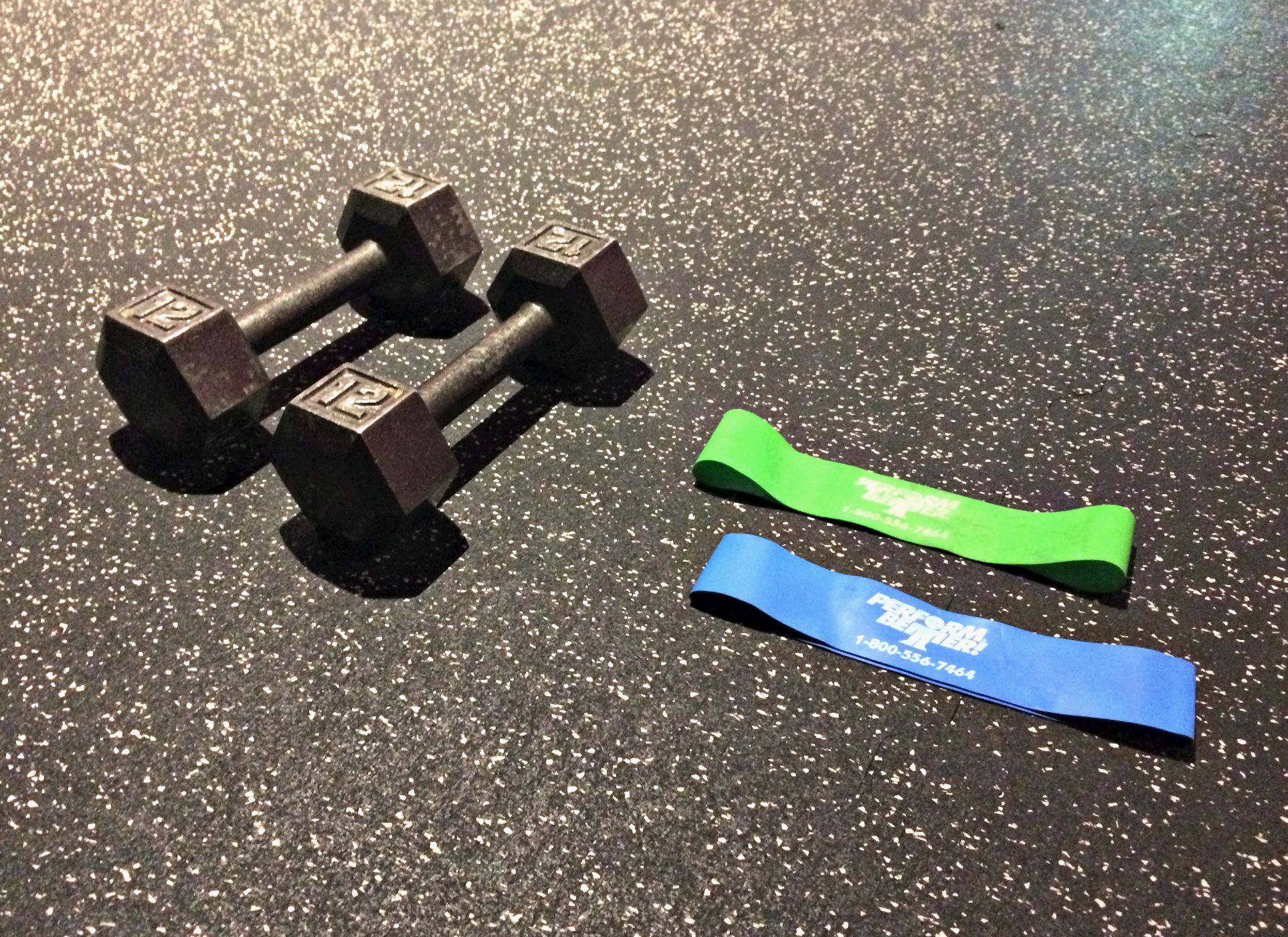 dumbbells and band exercises