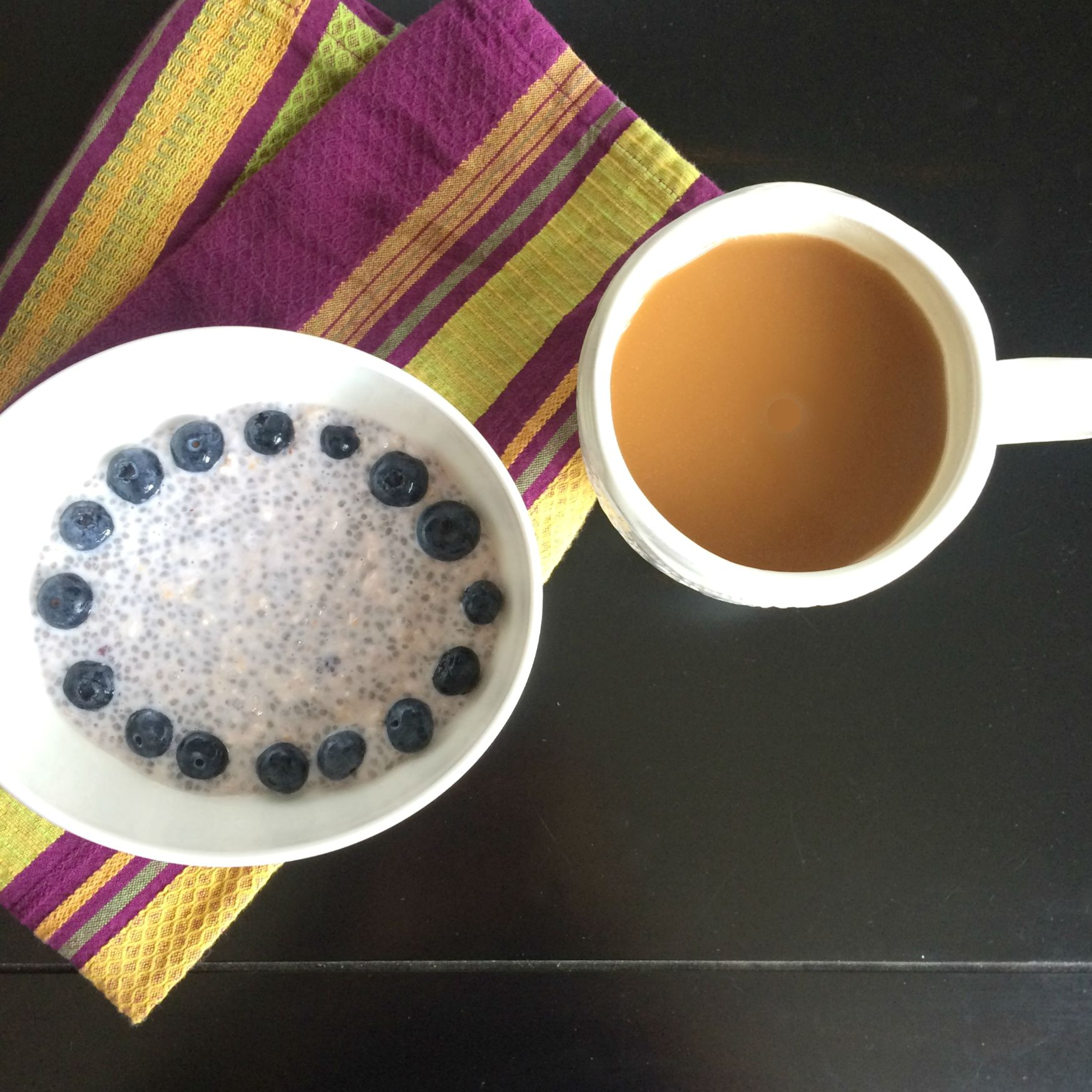 healthy overnight oats and coffee