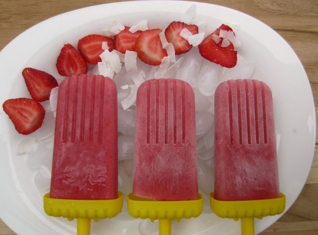 healthy strawberry ice pops