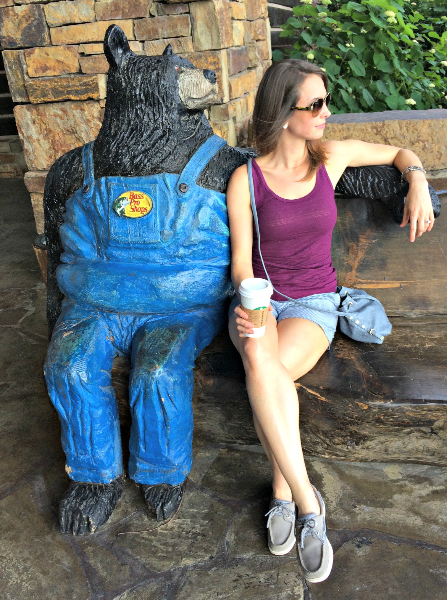 heather chilling with bear at bass pro shops