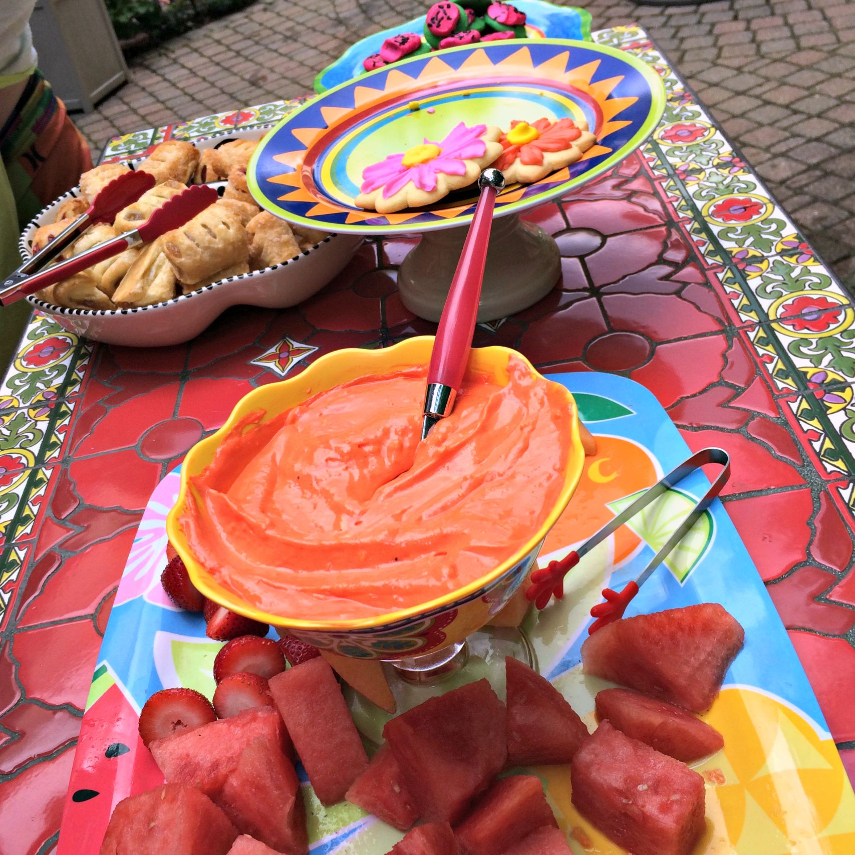 red marsmallow fruit dip and snacks