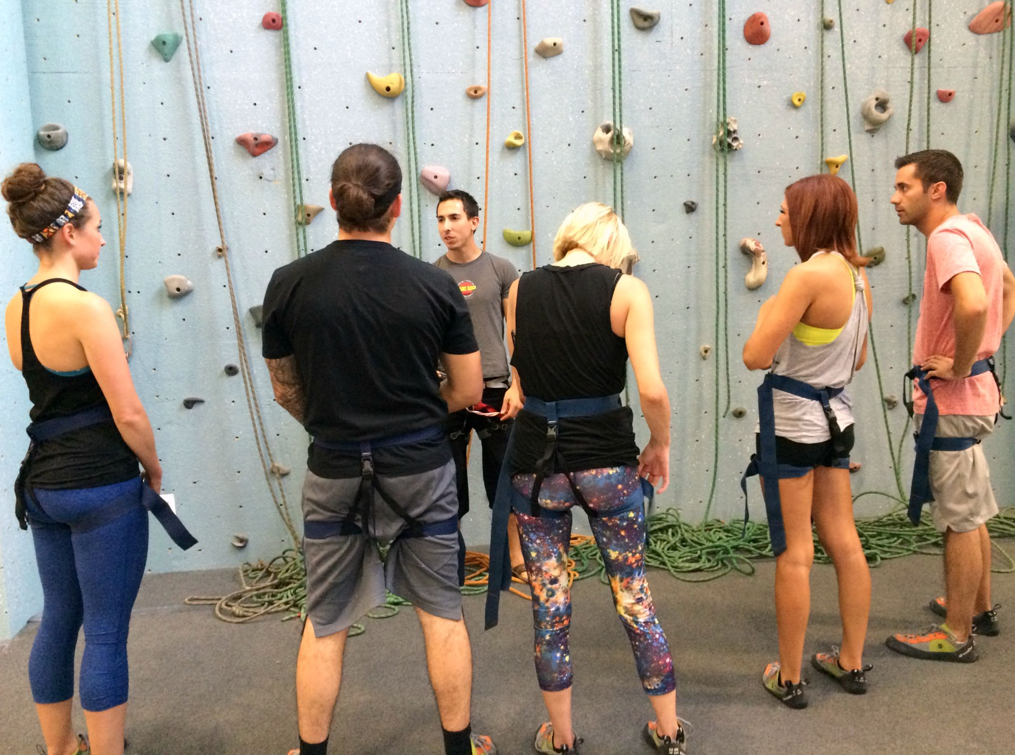 rock climbing training at the gym
