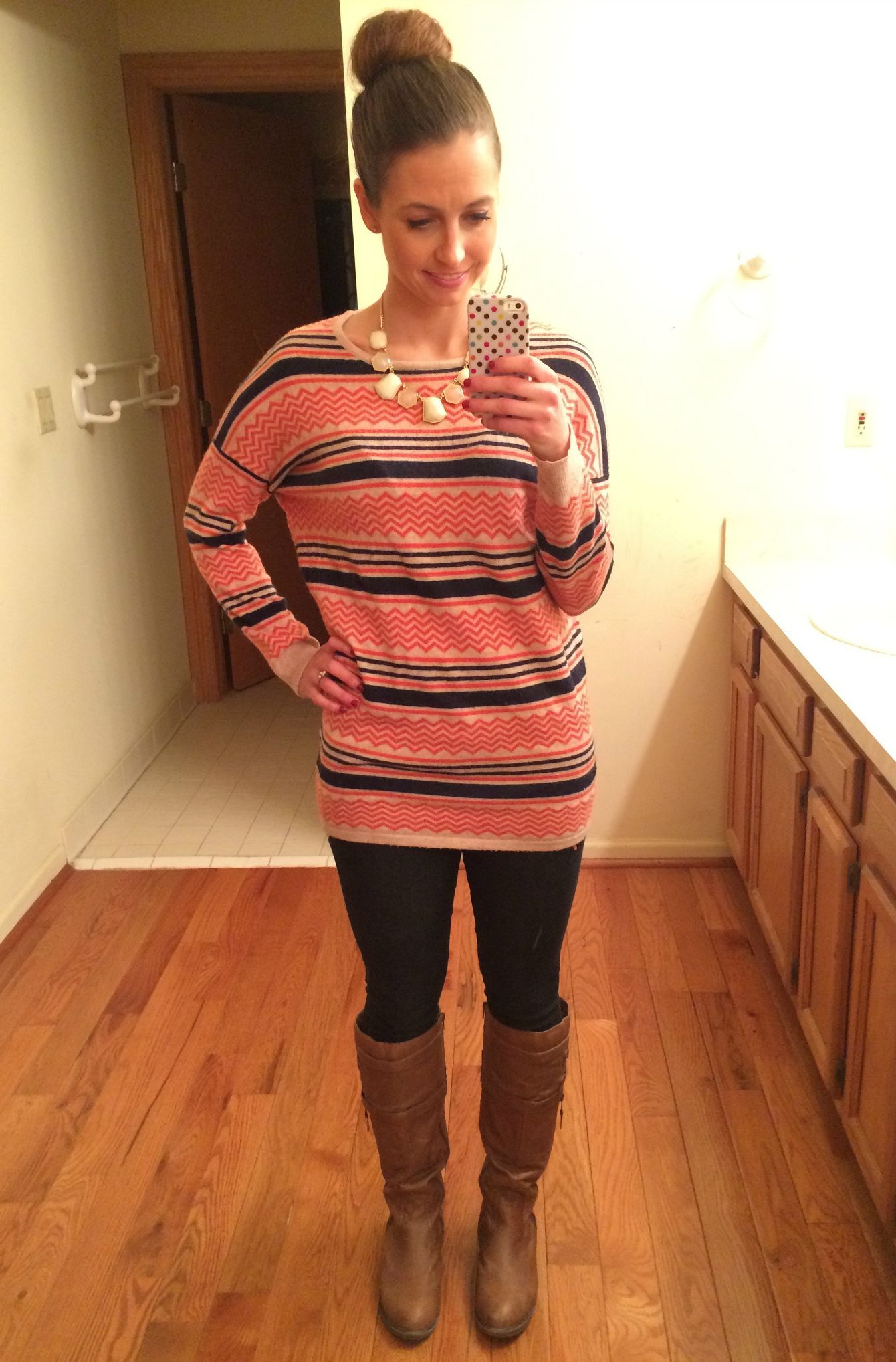 stitch fix oversized sweater with skinny jeans and boots