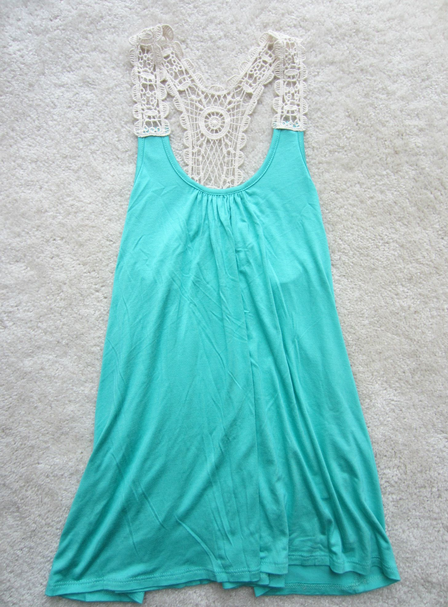 stitch fix papermoon burns crochet detail knit tank teal green