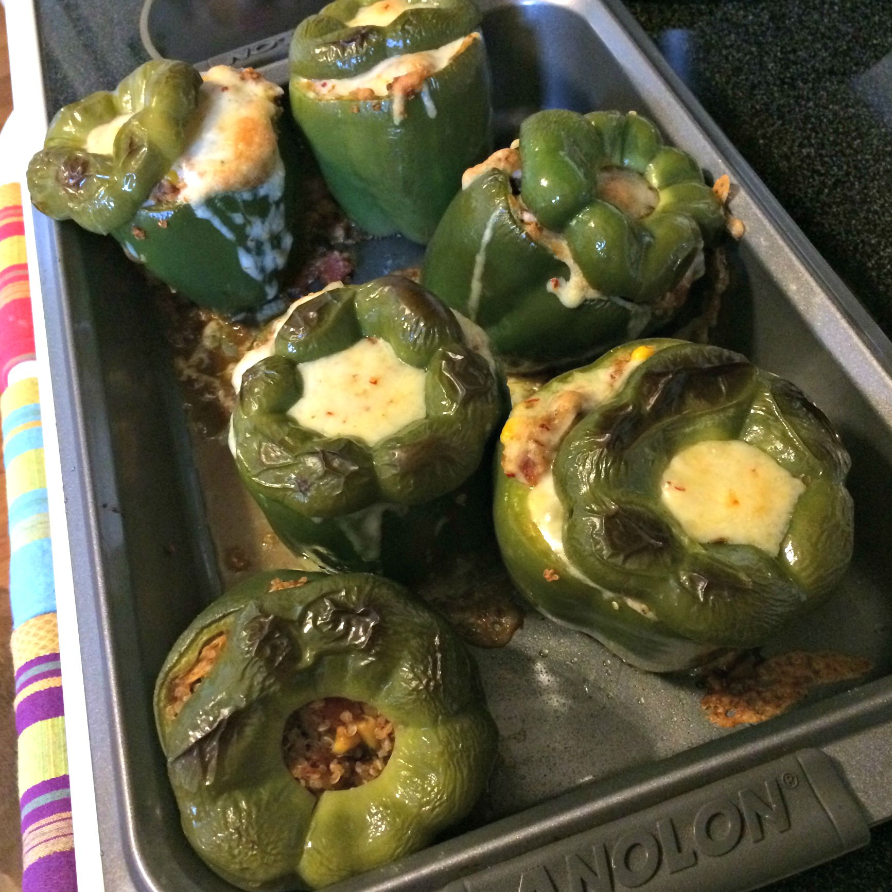 stuffed green quinoa peppers