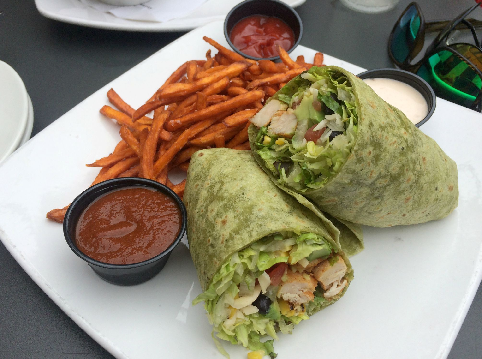 west end grill southwest wrap and sweet potato fries