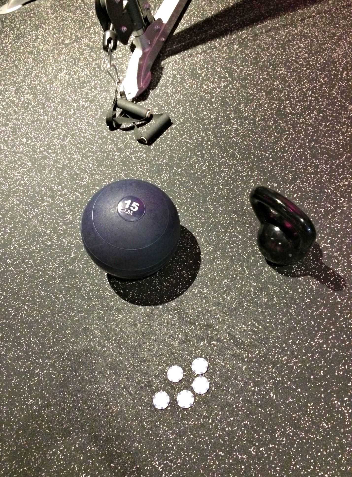workout with jamball and kettlebell