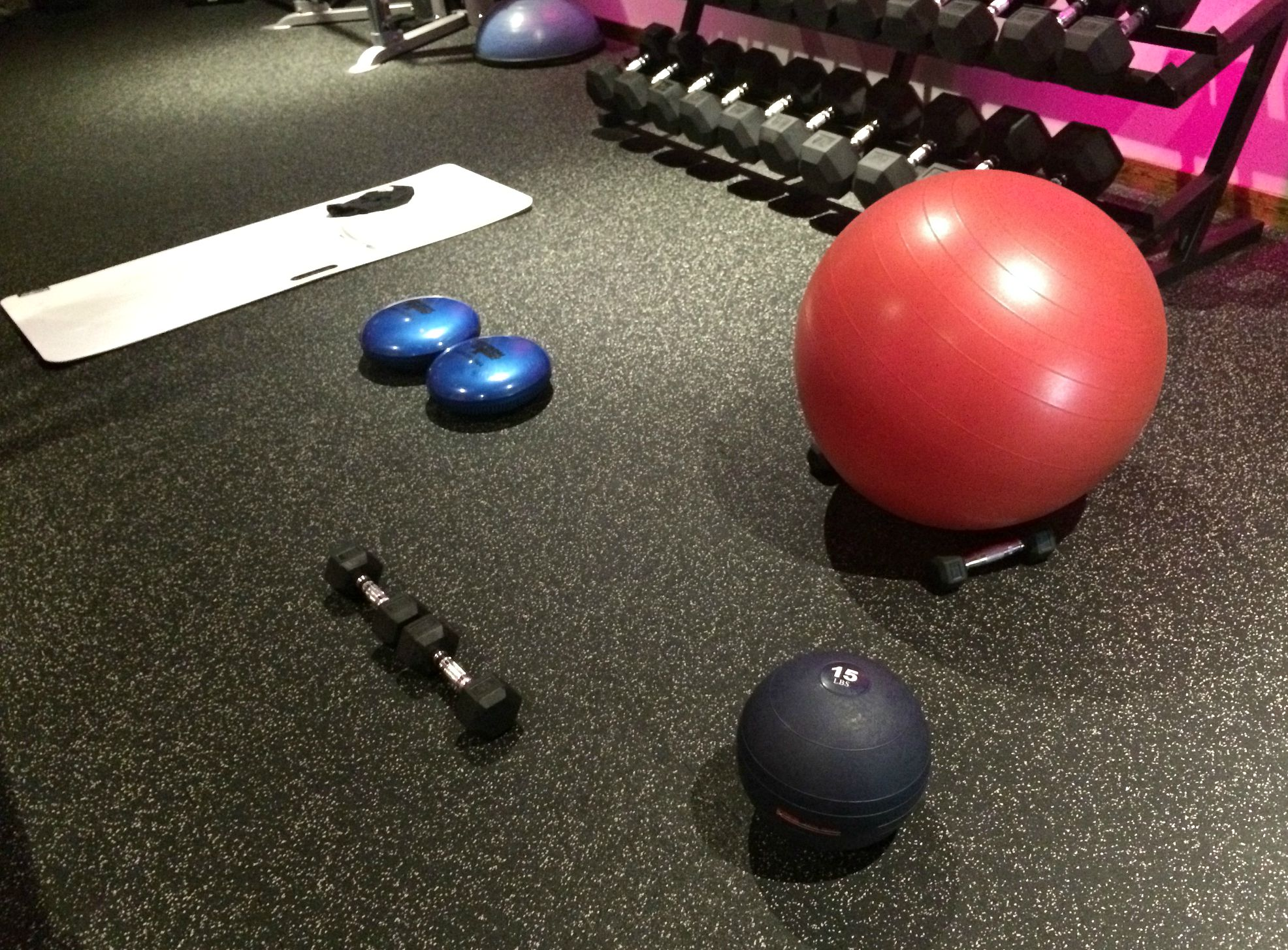 workout with stability ball, jam ball, glider, and discs