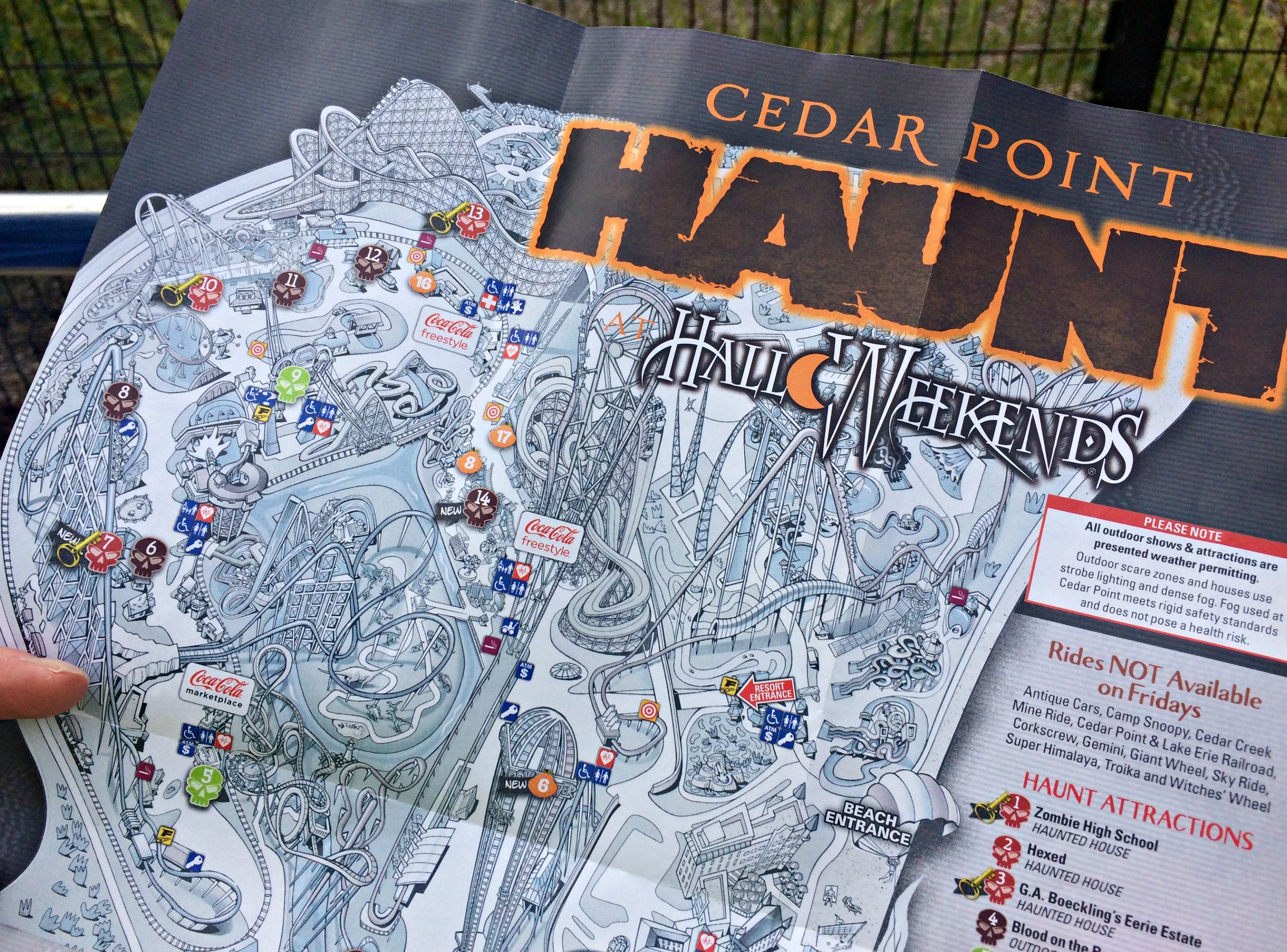 Cedar Point Haunted HalloWeekends rides and map
