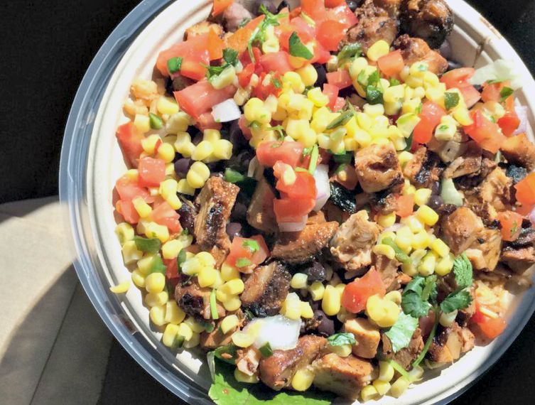 Qudoba salad with chicken rice and beans