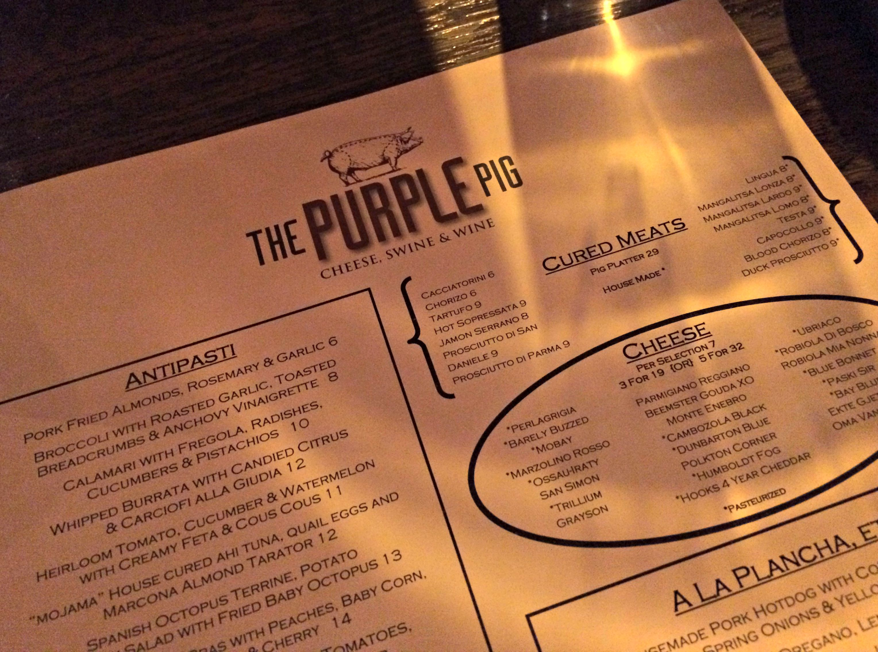 The Purple Pig menu chicago