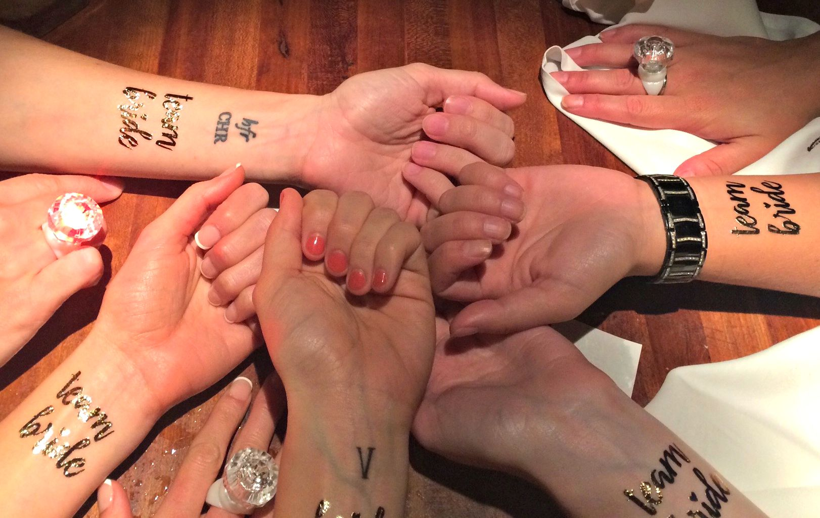 bridal party tattoos gold