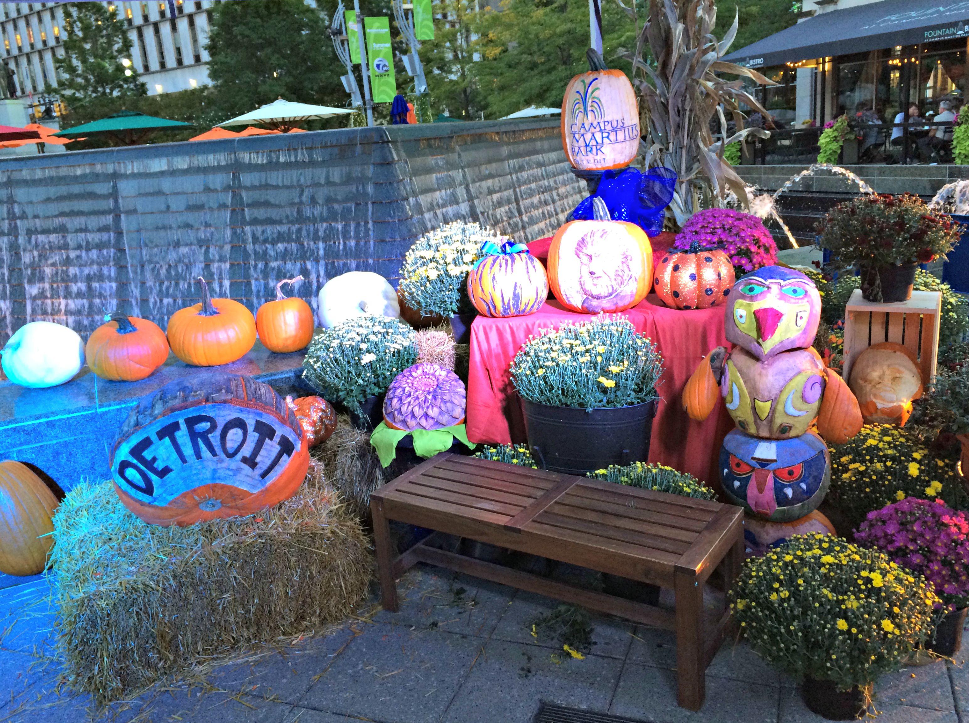 campus martius park fall pumpkins