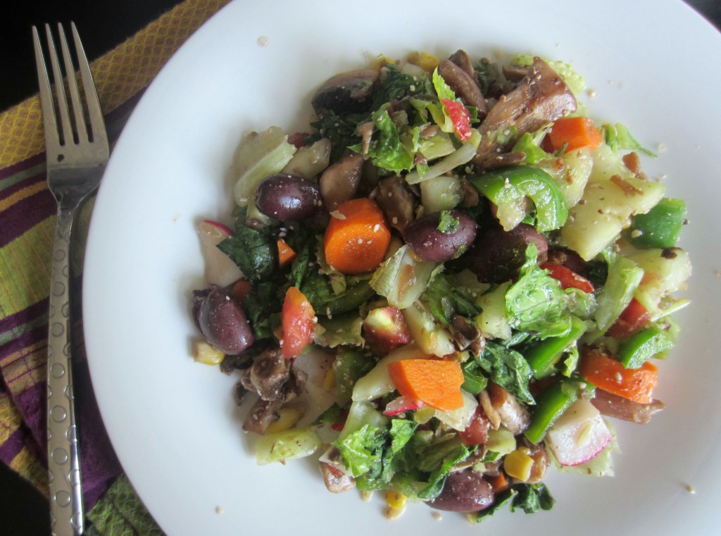chopped salad with lots of vegetables
