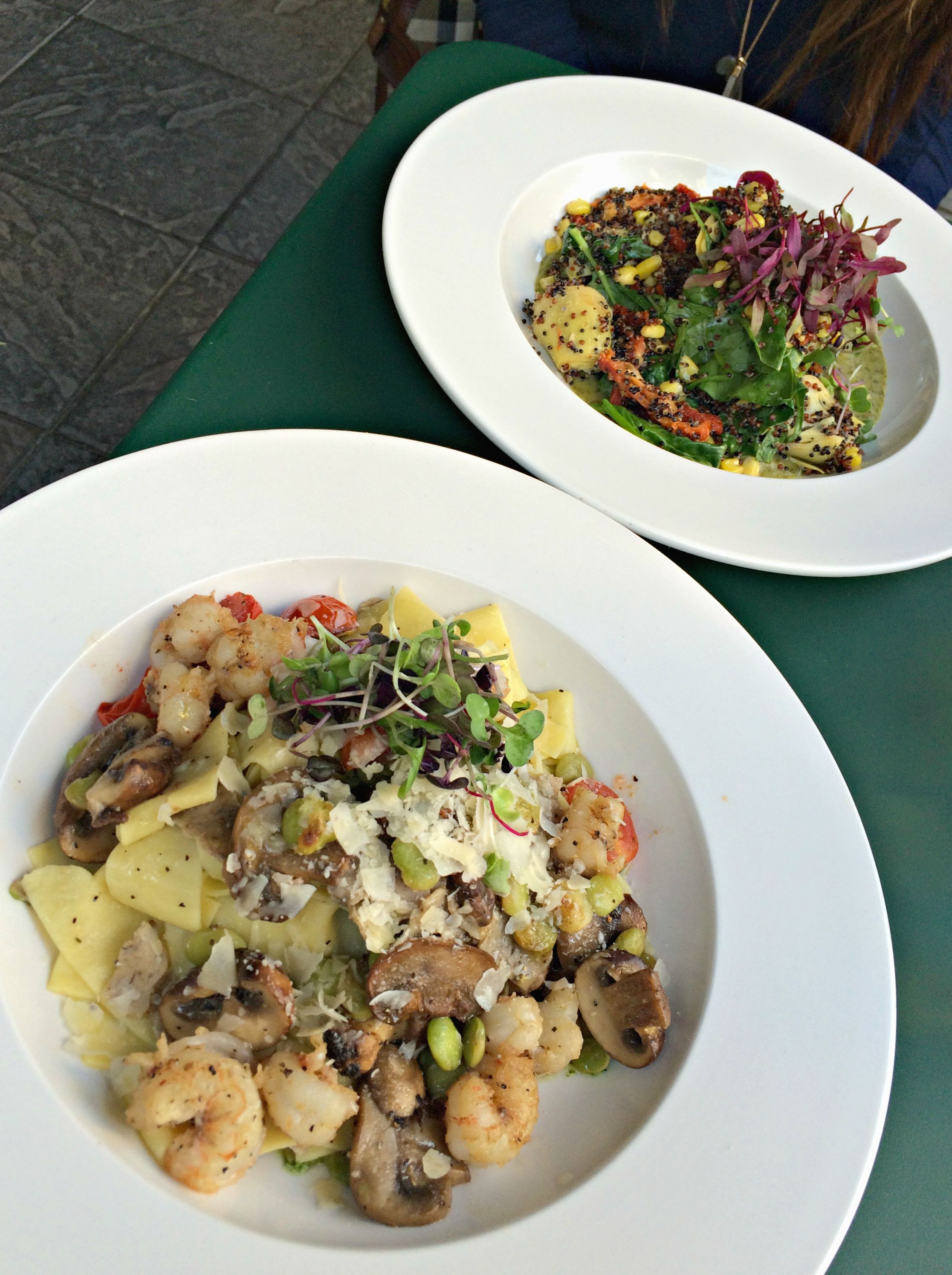 fountain bistro mushroom and shrimp pasta and quinoa entree