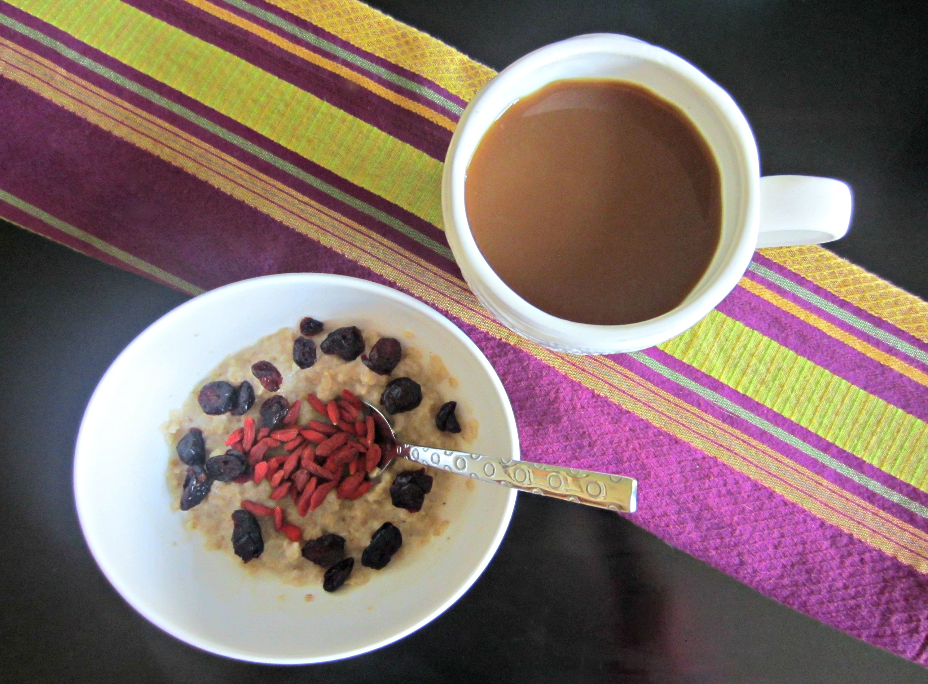 healthy breakfast oatmeal and dried berries