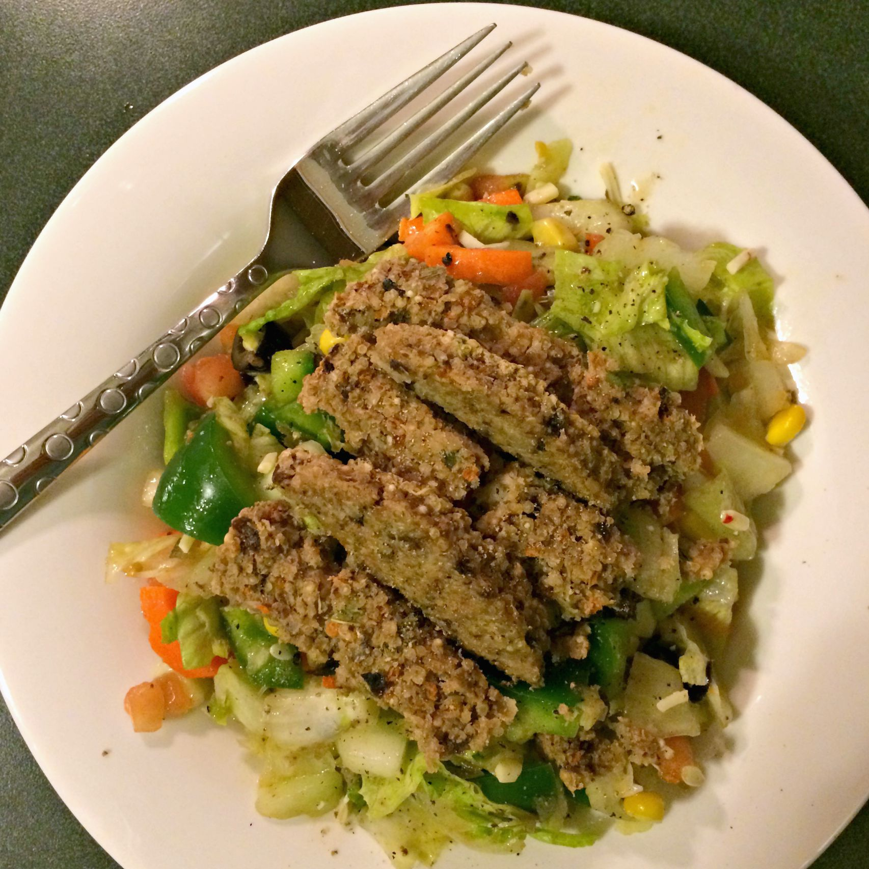 healthy chopped salad with veggie burger