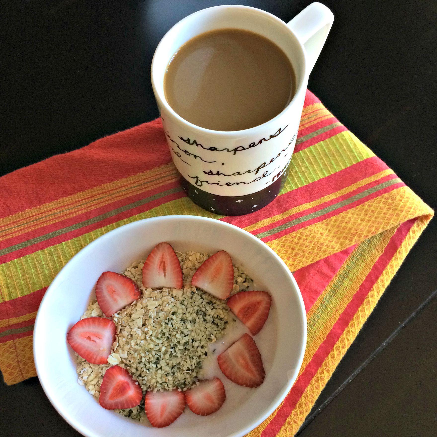healthy yogurt bowl with super oats and hemp seeds