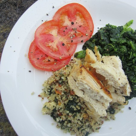 lunch with chicken kale tomatoes and quinoa