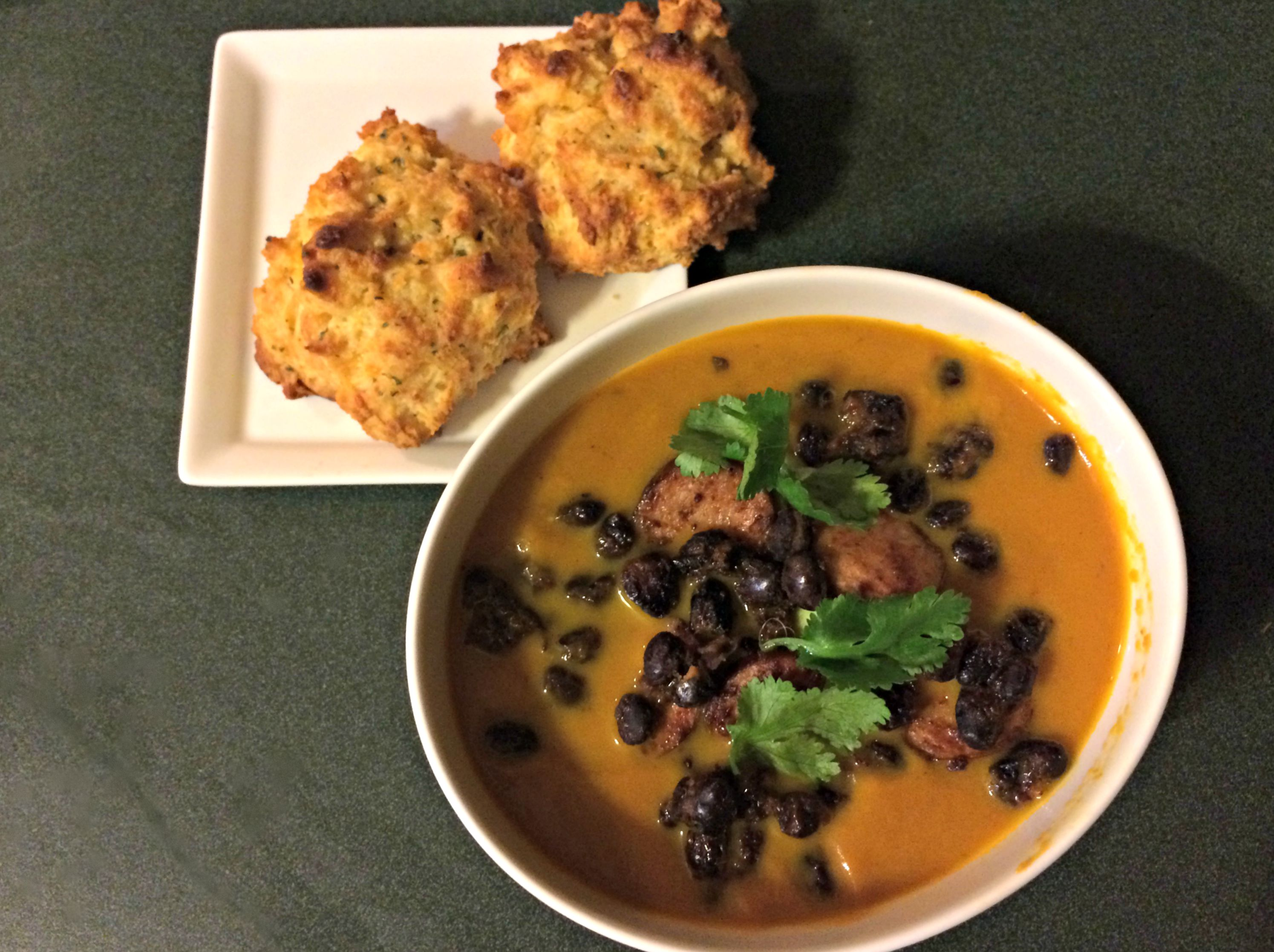 pumpkin soup with sausage and beans