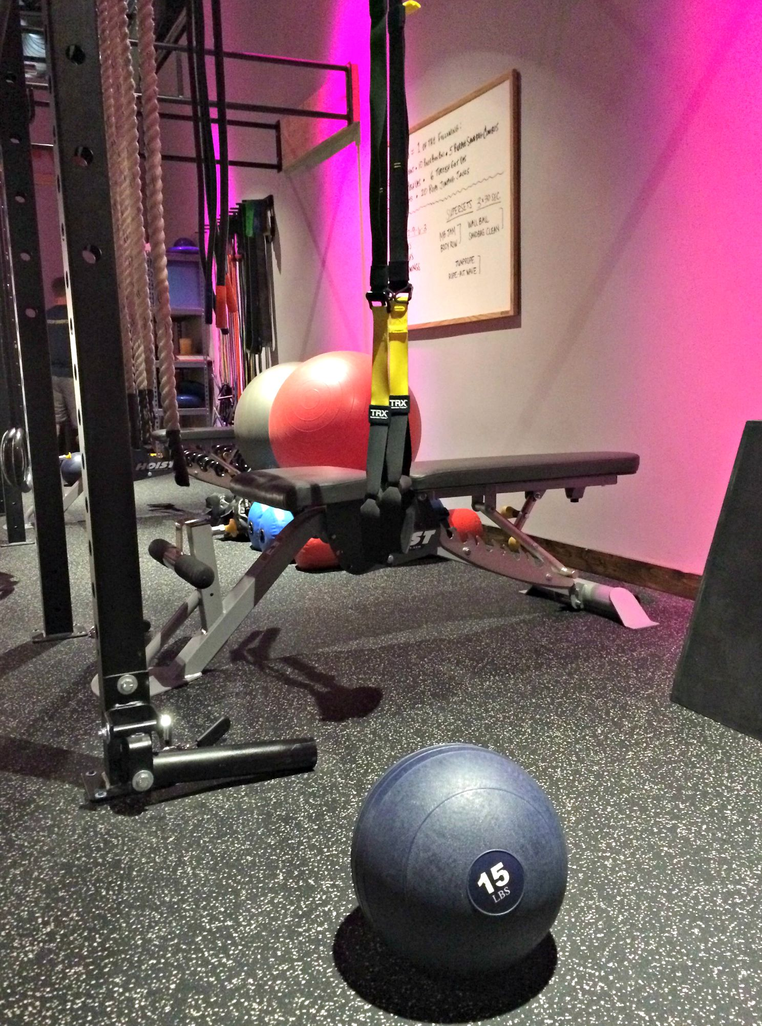 rock city fitness jam ball and TRX