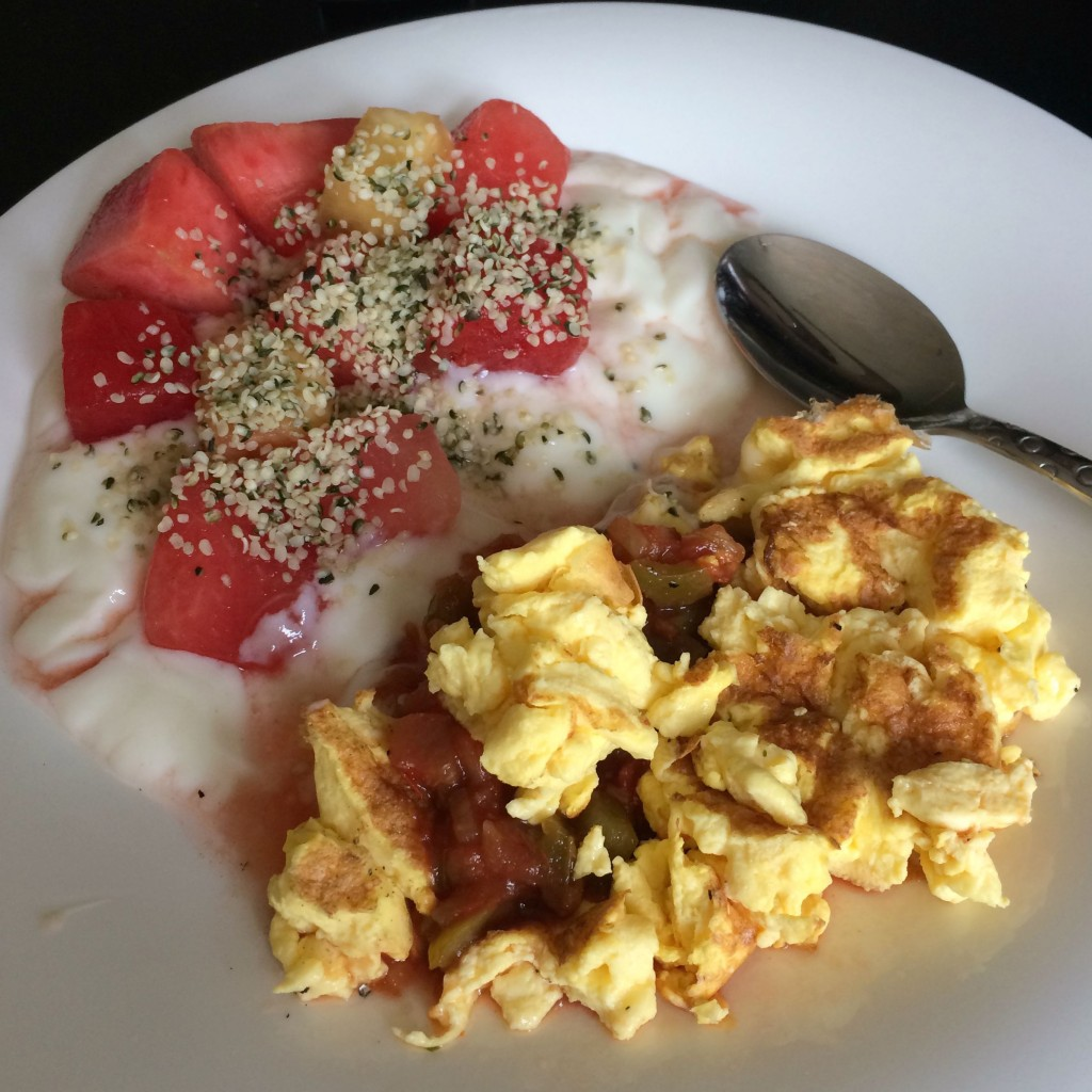 scrambled eggbeaters with yogurt and fruit