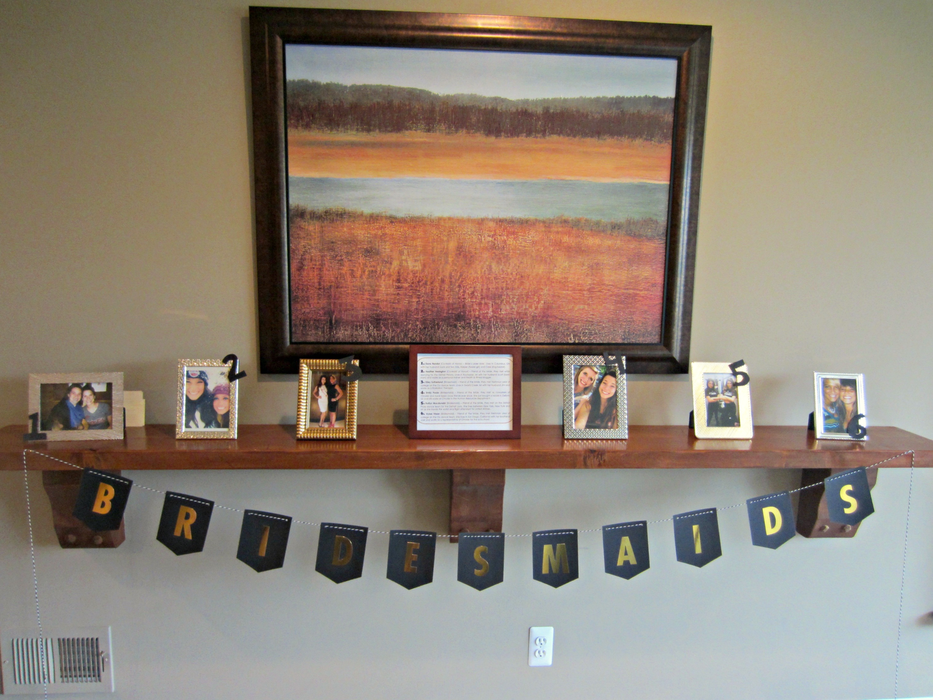 Bridesmaids display for bridal shower