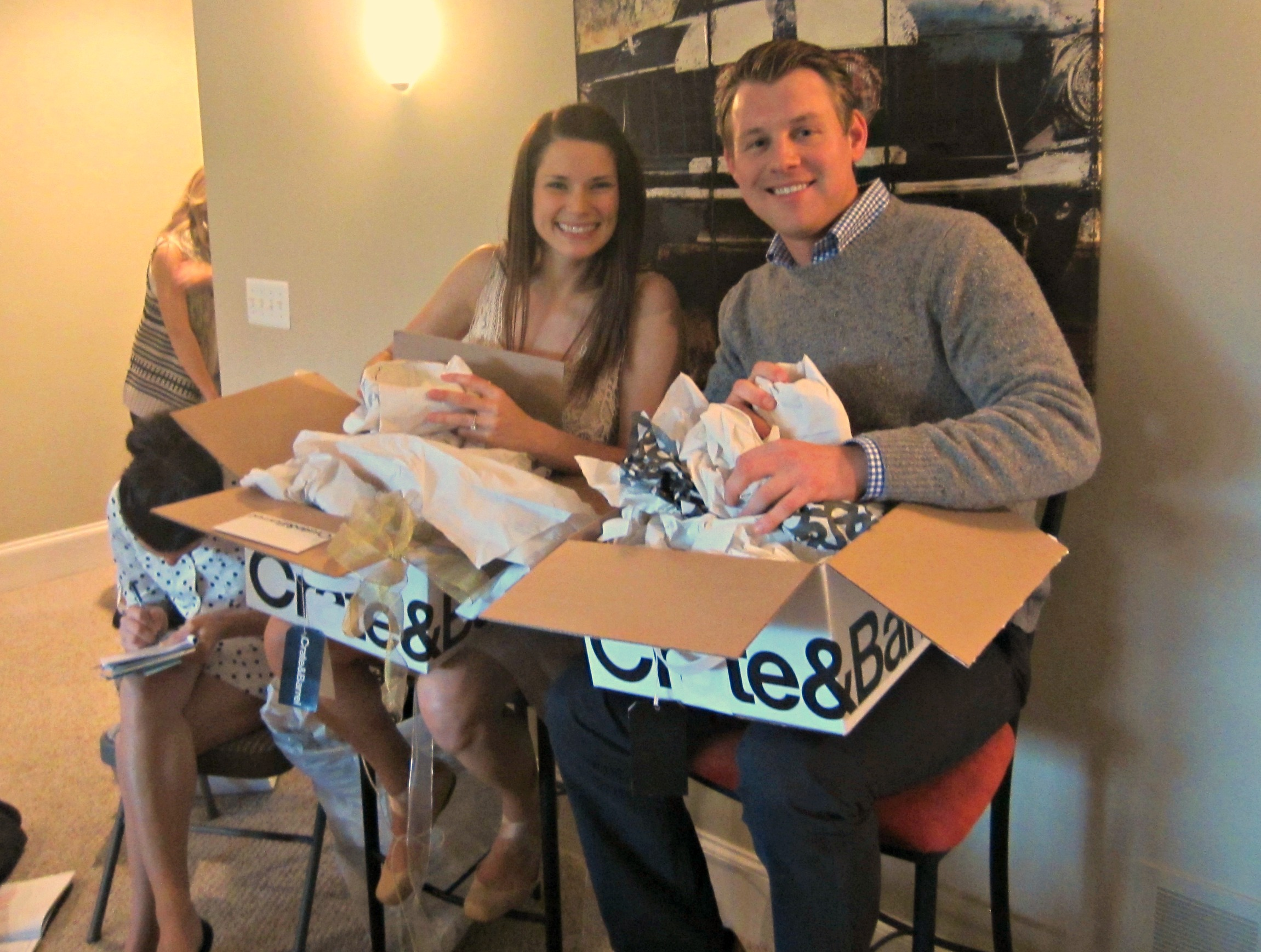 alex and alex opening bridal shower gifts
