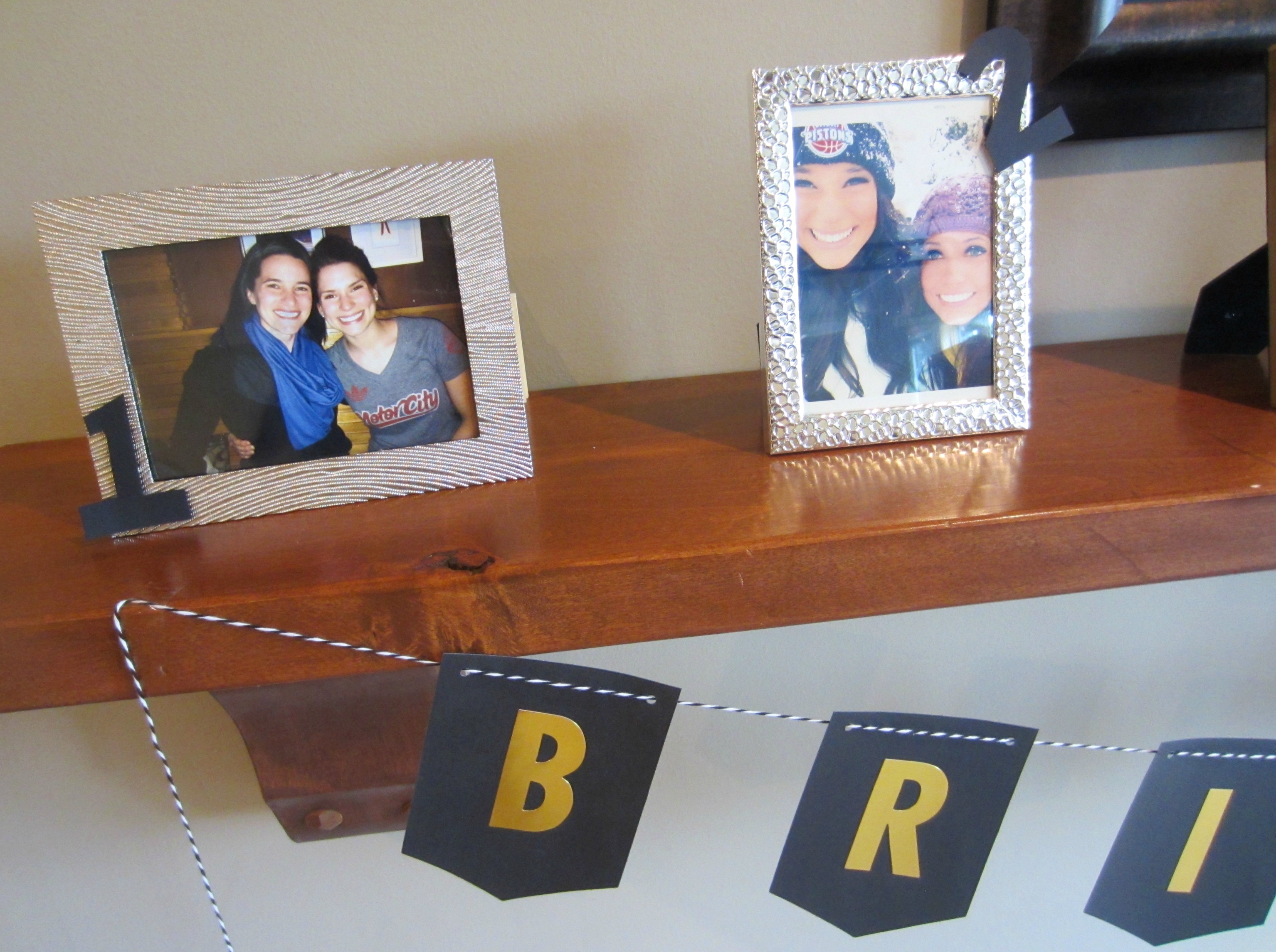 bridesmaids photo display for bridal shower