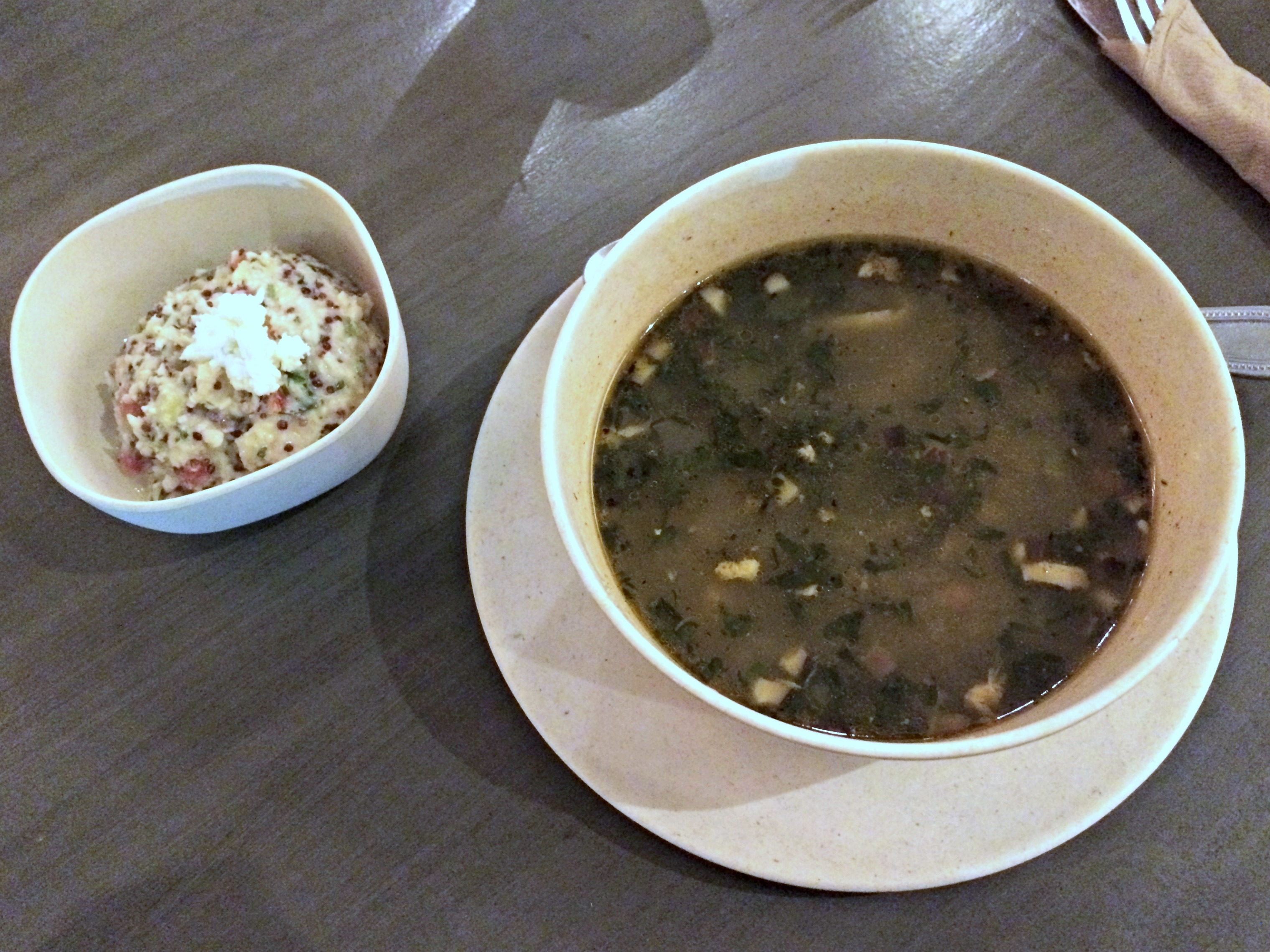 flower child chicken soup and quinoa tablouleh