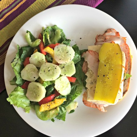 healthy lunch sandwich and salad