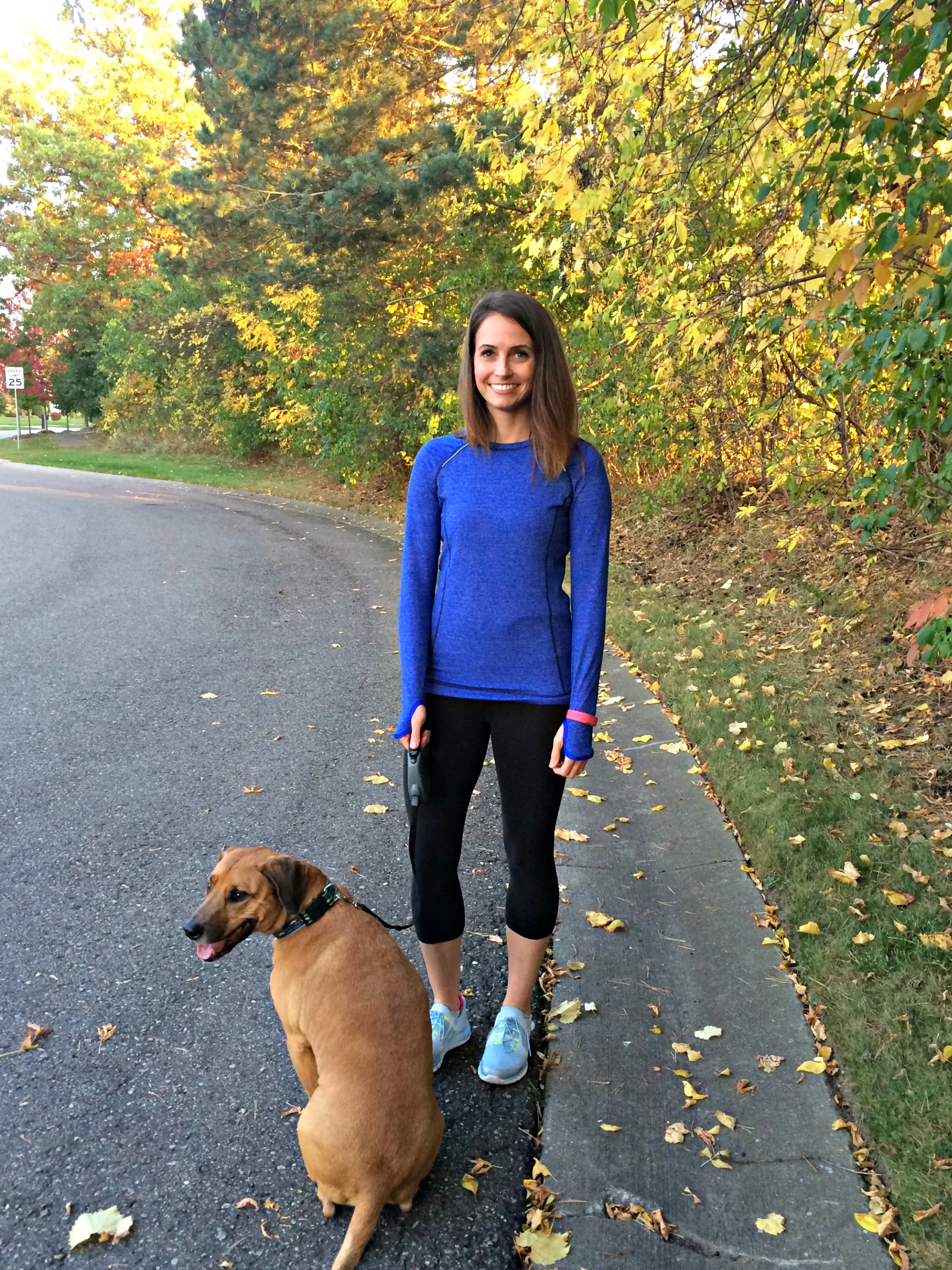 heather and roadie on a walk
