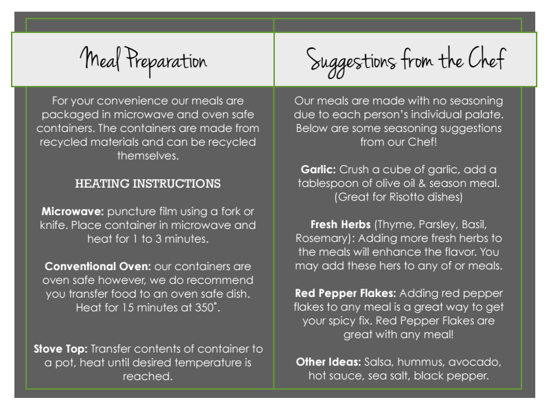 meal preparation and suggestion sheet