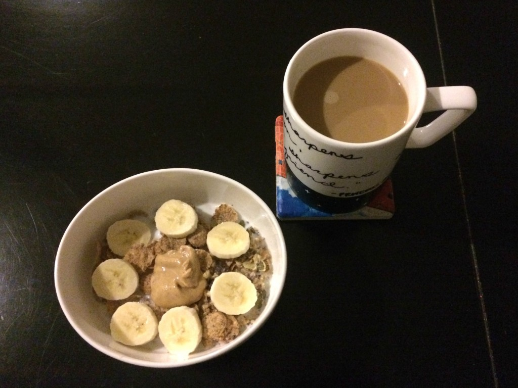 natures path pumpkin cereal with peanut butter and bananas