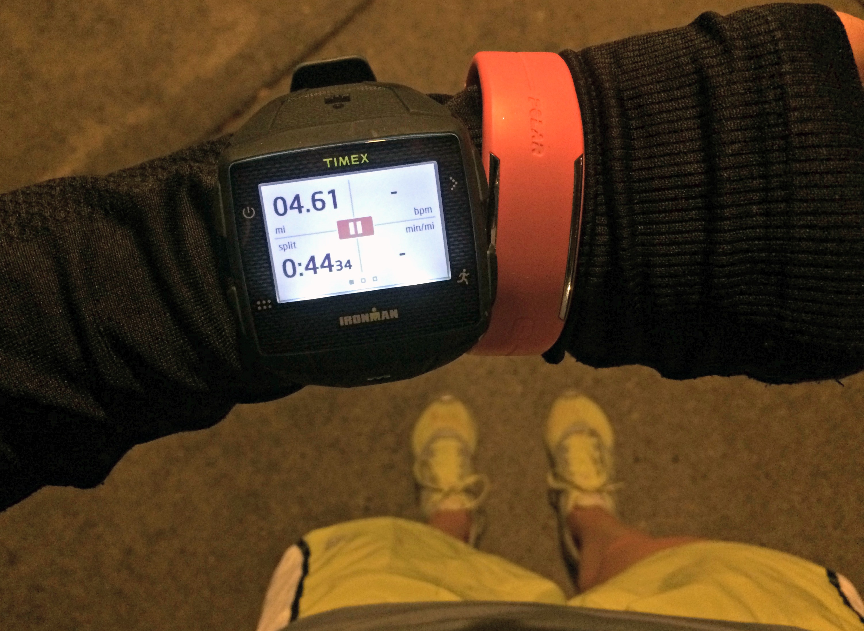 night run with timex gps watch