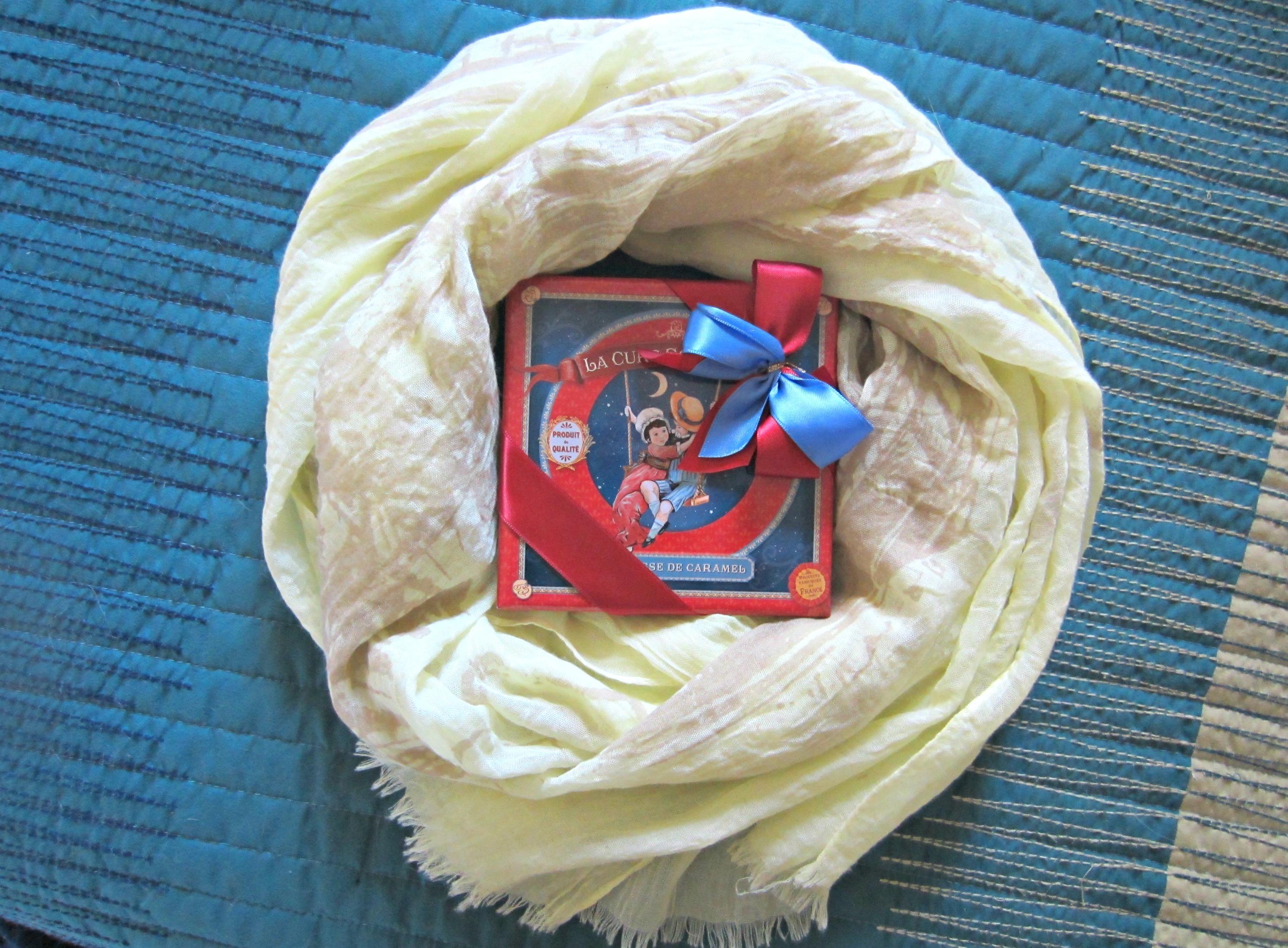 paris scarf and caramel chocolates