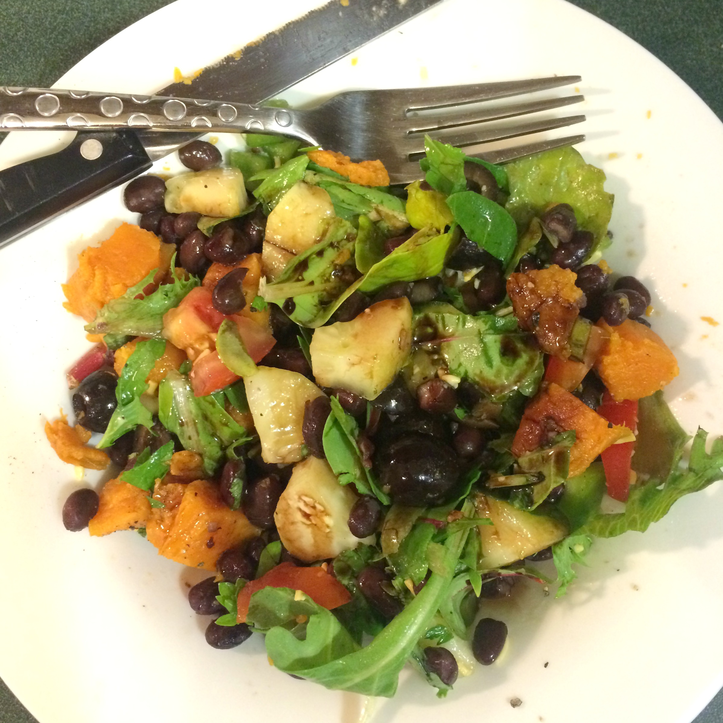 salad with sweet potato and beans