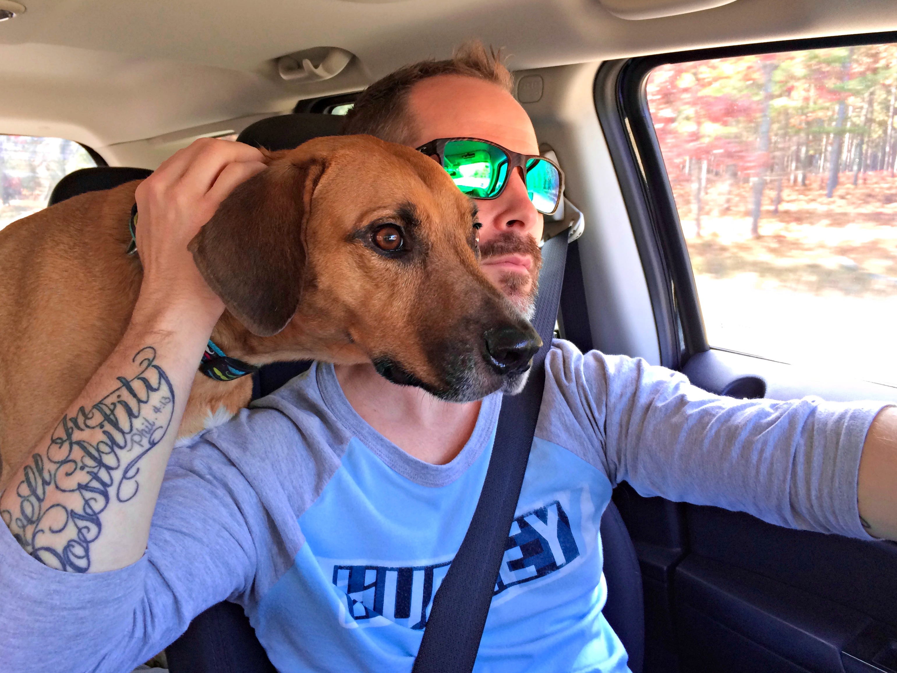 scott and roadie driving