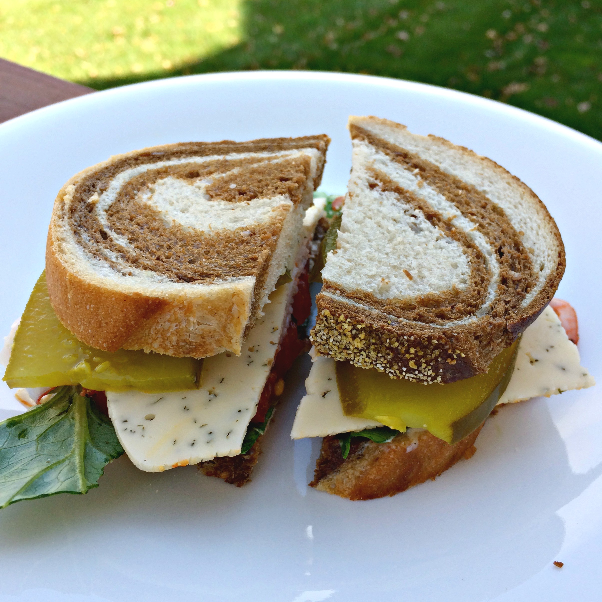turkey and cheese sandwich on marble rye