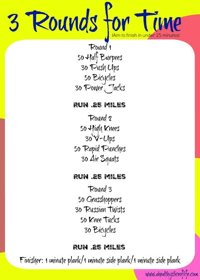 3 rounds for time at home workout