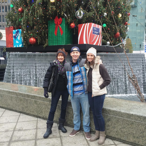 Campus Martius christmas tree with mom