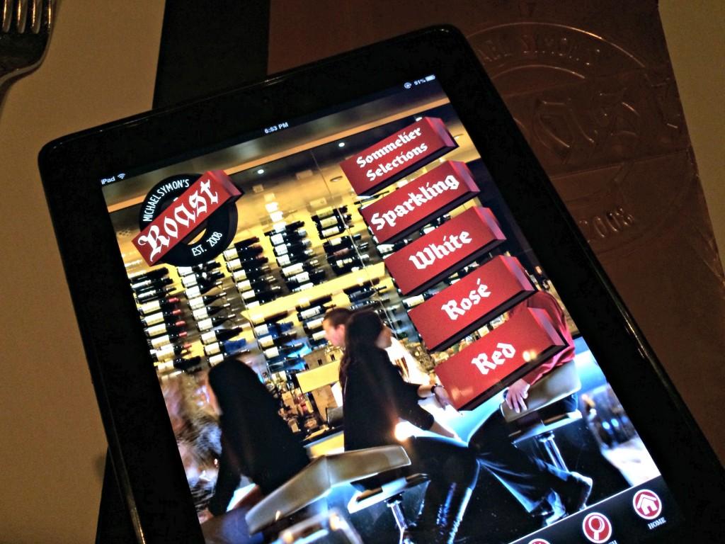 Roast drink menu tablet