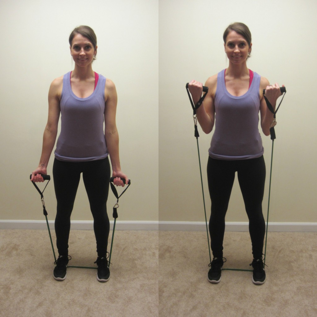 biceps curls with resistance band