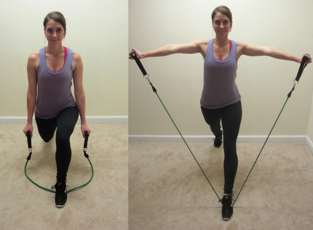 lunge with lateral raises with resistance band exercise