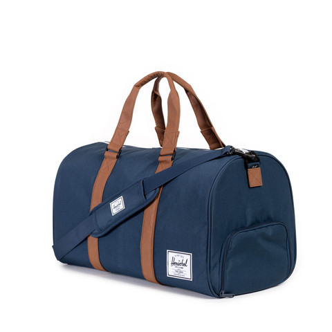 navy and tan herschel supply duffel bag